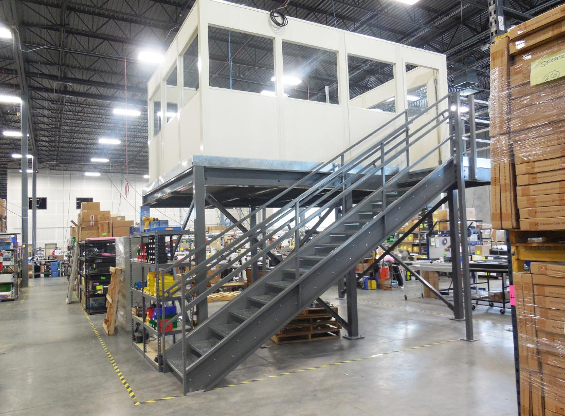Jorgenson Material Handling Crews Prove Finding A Modular Mezzanine For Sale Saves Space